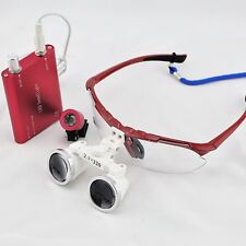 Red 2.5X 420mm Dental Surgical Medical Binocular Loupes With LED Head Light Lamp