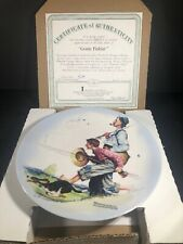 """Norman Rockwell """"Gone Fishing"""" 8.5"""" Collectors Plate With Coa W/ Box."""