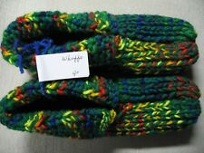 """New Handmade House Slippers w/Cuffs Green & Rainbow Mix Mens Small Wms Med 9"""""""