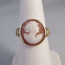 Vintage 10K TRI-COLOR GOLD SETTING CARVED SHELL CAMEO RING Sz 5