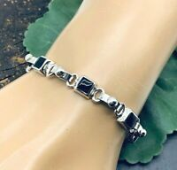 Taxco Mexican 925 Solid Sterling Silver Black Onyx Links Bracelet From Mexico