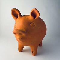 NEW Ancient Graffiti Terracotta  Pottery Pig Planter Made in Honduras NOS