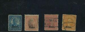 US  Stamp # 663-664, 667- 668 Kansas Overprint Used  CV $52