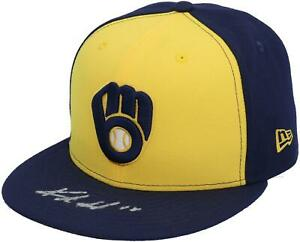 Keston Hiura Milwaukee Brewers Autographed Yellow and Navy New Era Cap
