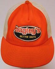 Vintage 1980s BAGLEY BAGLEY'S FISHING BAITS Patch Hat Snapback Trucker Hat Cap