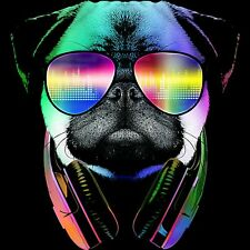 Cool Pug With Sunglasses IRON ON T-shirt Transfer Cool Retro Funny