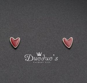 925 Sterling Silver Lovely Red Heart Stud Earrings