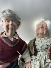 Rare Grandma and Grandpa Doll Couple. Adorable features. Porcelain w/cloth body