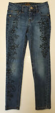 Justice Simply Low Super Skinny Jeans Sz 8 Paisley Floral Print Accents EUC