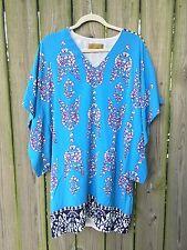 NICOLE MILLER Turquoise Silk Jersey Kimono Dress Size Medium 8 10
