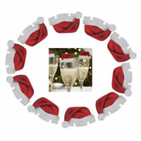 10Pcs New SANTA Hat wine glass decorations - Christmas table Place Name Cards UK