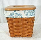 Longaberger Classic Stain Tall Tissue Basket with Lid and Cottage Trellis Liner