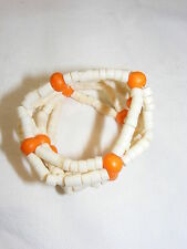 Vintage 4 Napkin Rings Orange and Cream Colored Beads