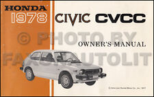 1978 Honda Civic CVCC Owners Manual Original Sedan Hatchback Owner Guide Book