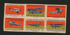 CZECHOSLOVAKIA- MNH-BLOCK OF 6 POSTER STAMPS-OLD PLANE