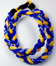 "NEW! BASEBALL Titanium TORNADO Sports Necklaces 20"" Royal Blue Yellow 3 ROPE"