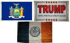 3x5 Trump White #2 & State New York & City New York Wholesale Set Flag 3'x5'