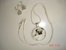"Very Cute ""Little Pug Puppy"" Glass Cabochon Necklace + Earrings"