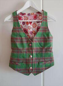 NESS Tweed Waistcoat Jacket Green Pink Plaid Check   SIZE: UK 10