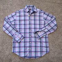Peter Millar Summer Comfort Pink Blue Plaid Gingham Men's M Golf Button Shirt