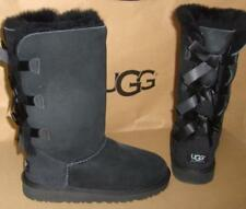 UGG Australia Black Triple Bailey Bow Tall Boots Kids Size 4 Youth NEW #1007309