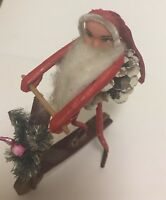 Santa Christmas Ornaments Vintage Skateboard Painted Face
