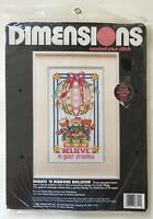 1992 DIMENSIONS Counted Cross Stitch Kit 3721 HEARTS RIBBONS BELIEVE IN DREAMS