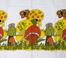 Lot of 5 Vtg 70's Hippie Mushroom Floral Print Floral Valance Window Curtain Set