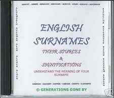 GENEALOGY DIRECTORY OF ENGLISH SURNAMES CD ROM