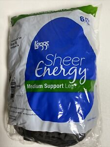 Leggs Sheer Energy Pantyhose Medium Support Leg Size B Off Black Pack of 6 pairs