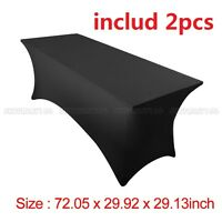 2pcs 6' ft Spandex Fitted Stretch Tablecloth Table Cover Wedding Party Black