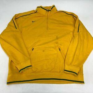 Nike Quarter Zip Jacket Men's 3XL XXXL Long Sleeve Yellow Mock Neck Cotton Blend