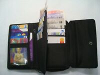 Leather Ladies Purse Wallet with Double Credit Cards Sections RFID Protected
