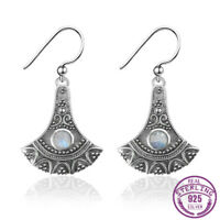 Vintage 925 Silver Round Natural Moonstone Drop Dangle Hook Earrings Wholesale
