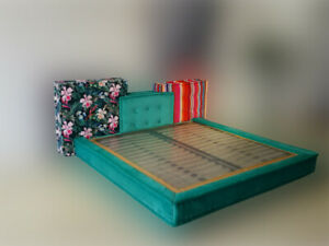 Handmade French tufted Customized Designer inspired Custom Framed Mah Jong Bed