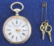 ANTIQUE VINTAGE G. VOUILLARMET BESANCON SILVER POCKET WATCH & KEYS 19th CENTURY!