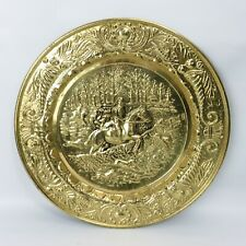 """New listing Vintage 14"""" Copper Wall Decor Plate Embossed Horse riders rushing in"""