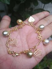 Auth SOUTH SEA PEARL Bracelet with HEART design Charms in Micron Setting ON SALE