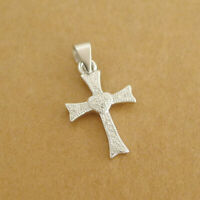 Solid 925 Sterling Silver Cross Heart Love Paved CZ Pendant Necklace 2 Chains