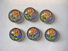 6 Vintage Antique Early 1900's Handpainted Floral Buttons Metal Backing