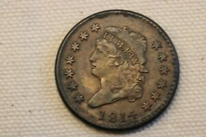 "1814 ""Crosslet 4"" Classic Head Large Cent Coin 1c"
