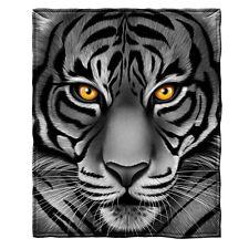 White Tiger Face Fleece Throw Blanket