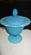 INDIANA GLASS COVERED CANDY DISH FROSTED BABY BLUE LACED RIM GRAPE COMPOTE