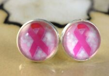 PINK RIBBON breast cancer12mm round glass dome stud Earrings gift jewelry women