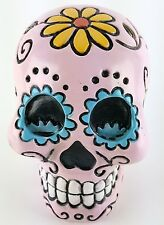 Collectible PINK SUGAR SKULL Handpainted Resin Statue SKULLS DAY OF THE DEAD