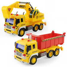 Set of 2 Construction Engineering Truck 1/16 Machine Digger Vehicle Dump Trucks