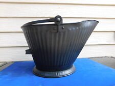 Vtg Mid Century Classic Black Fireplace No. 16 Metal Coal Bucket Hod Reeves Era