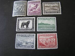 NEWFOUNDLAND, SCOTT # 184+190+193/194+196/197+199, 1932-37 PICTORIAL MVLH