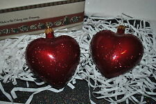 NEW S/2 GERMANY BLOWN GLASS RUBY HEART VALENTINE Bavarian Coburg molds AUTHENTIC