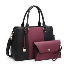 Women Handbag Top Handles Satchel Tote Purse Bag + Wallet Set Purple and Black